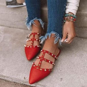 Shoes - Red womens studded mules